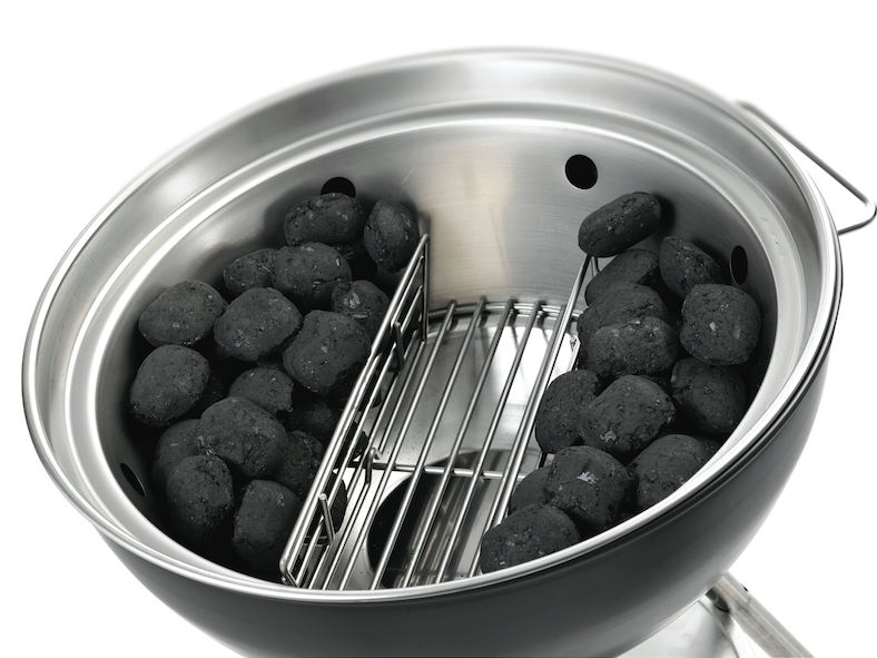 Charcoal divider in use